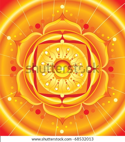 bright orange mandala of svadhisthana chakra vector - stock vector