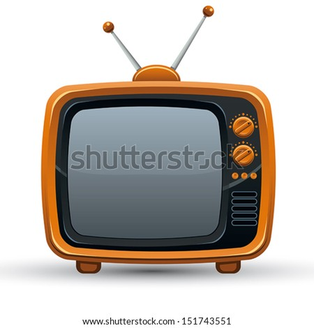 Bright orange retro TV set, vector illustration. - stock vector