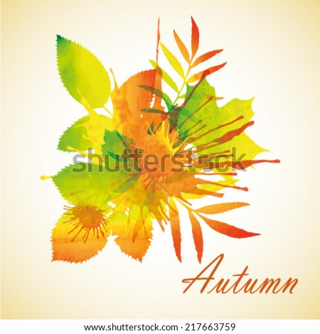 Bright orange yellow green red watercolor painted autumn foliage vector background. Original unusual colored blots.  - stock vector