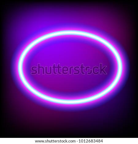 Bright Oval Neon Sign Retro Neon Stock-Vektorgrafik 1012683484 ...