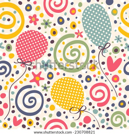 Bright pattern to the birthday. Seamless vector background with balloons, confetti, streamers, flowers and gifts. - stock vector