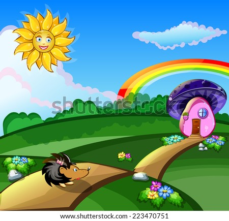 bright picture with the hedgehog in the meadow sun and rainbow vector - stock vector
