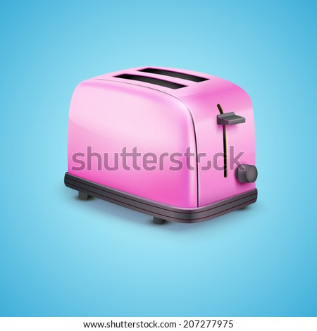 Bright Pink Glossy Toaster. Vector illustration on blue background - stock vector