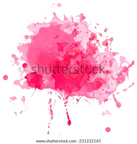 Bright pink vector ink splash with drops and stains. - stock vector