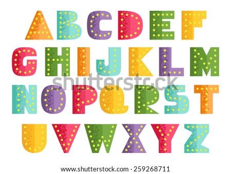 Bright placard alphabet. Set of colorful ABC letters with dots and grunge style. Multicolored alphabet in trendy optimistic colors. Easy to combine. Capital letters, schematic shapes. Vector is EPS8. - stock vector