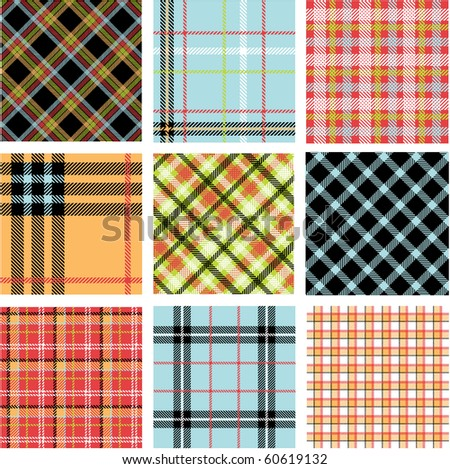 Bright plaid patterns - stock vector