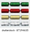 Bright plaid (tartan) Christmas crackers in vector format. - stock photo