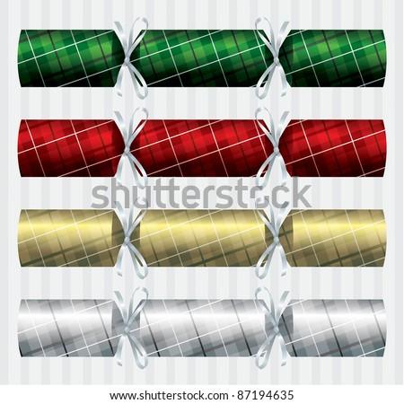 Bright plaid (tartan) Christmas crackers in vector format. - stock vector