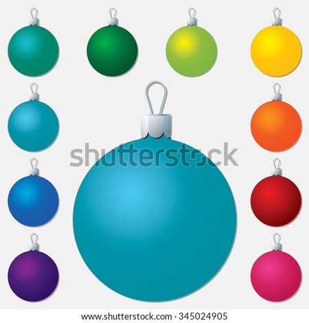 Bright plain Christmas bauble set in vector format. - stock vector
