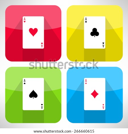 Bright playing cards suits icons set in modern flat design. Card symbols with long shadows. Vector - stock vector