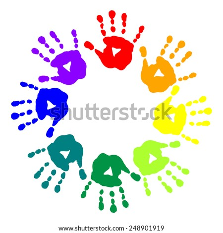 Bright postcard with a colorful handprints - stock vector