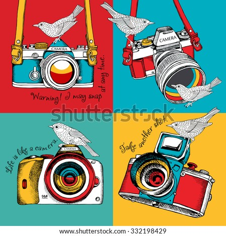 Bright poster in the style of pop art with image of a camera and birds on color background. Vector illustration. - stock vector
