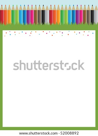 bright poster with pencils and message board ready for text