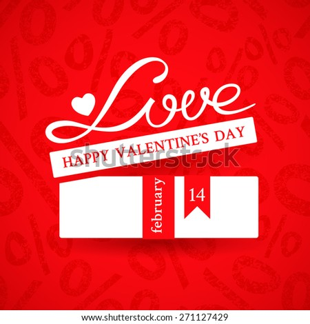 Bright promotional banner with white gift box with ribbon and inscription Love on red background with ornament of a percent sign to advertise products to the Valentine's day action - stock vector