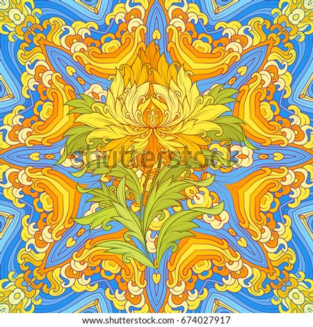 Bright Psychedelic Mandala And Wonderful Tibetan Lotus In Center Vector