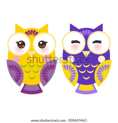 bright purple and yellow colorful owls on white background. Vector - stock vector