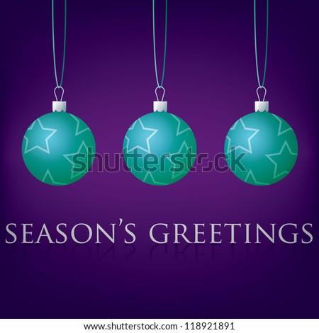Bright purple Season's Greetings bauble card in vector format. - stock vector