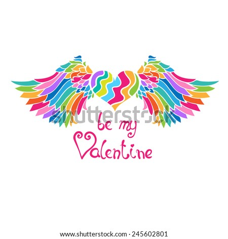 Bright rainbow colors winged heart.  Retro style vector illustration.  Can be used for valentine cards, greeting cards, invitations,  ornamental template for design and decoration, etc - stock vector
