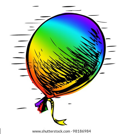 Bright rainbow party balloon with ribbon. Colorful hand drawing cartoon sketch illustration in childish doodle style - stock vector