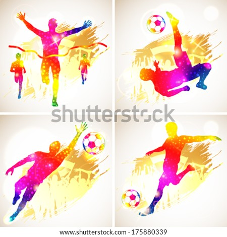 Bright Rainbow Silhouette Soccer Player and Winner Man with Fans on grunge background, vector illustration - stock vector