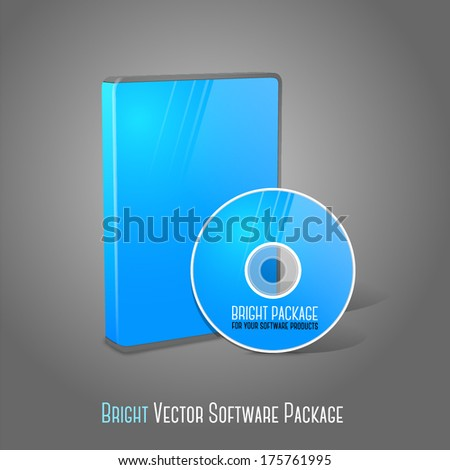 Bright realistic blue isolated DVD, CD, Blue-Ray case with DVD, CD disk on grey background. With place for your text and pictures. Vector - stock vector