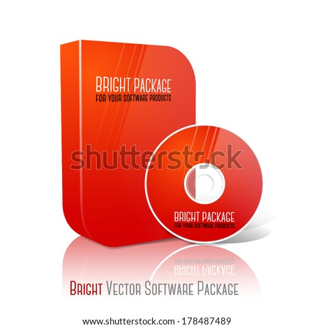 Bright realistic red isolated DVD, CD, Blue-Ray smooth shaped case with DVD, CD disk on white background with reflection. With place for your text and pictures. Vector - stock vector