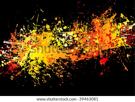 Bright red and yellow ink splat background with stream of colour - stock vector