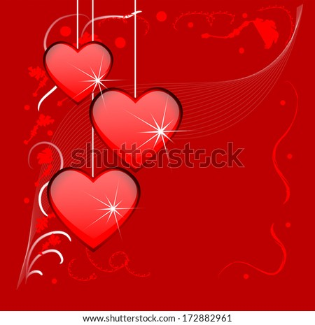 Bright red background with hearts to the day of saint Valentine