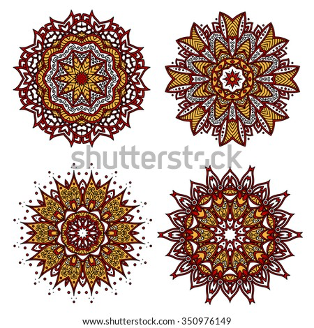 Bright red circular ornament with floral motif of yellow pointed petals, adorned by wavy lines, curlicues and swirls. Interior textile, tile and carpet pattern design usage  - stock vector