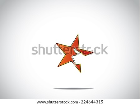 bright red colorful star icon with thumbs up social media human hand in bright white background - great or cool prize achievement success award badge or leader leadership concept symbol art - stock vector