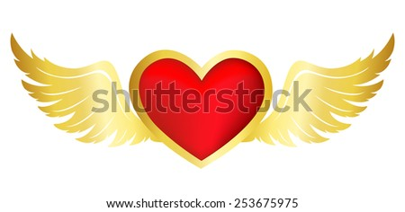 Bright red flying heart with gold wings clipart isolated on white background - stock vector