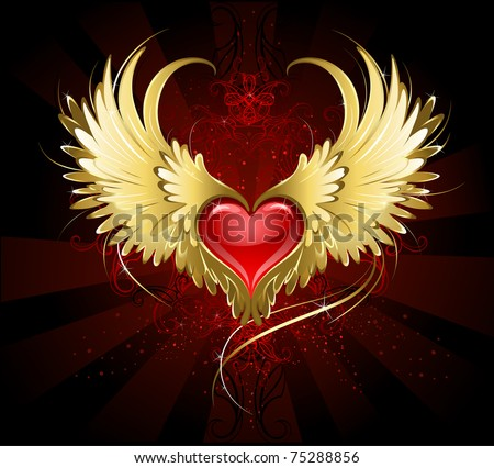 bright red heart of an angel with golden wings shining in the dark radiant red background decorated with a pattern. - stock vector