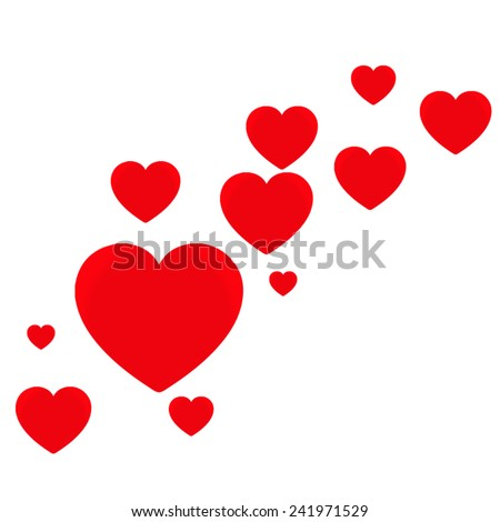 Bright Red Love hearts. A collection of eleven multi-sized red love hearts floating to the right. - stock vector