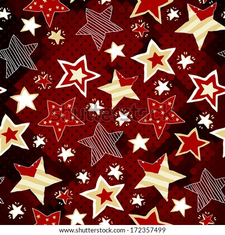 Bright red mosaic pattern with stars. Hand drawing. Red Star to your holiday. Christmas red stars background - stock vector