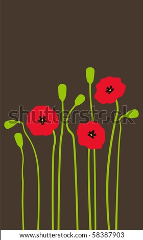 Bright red poppies on a dark background - stock vector