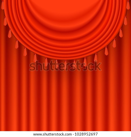 Bright Red Satin Curtains Background Festive Theatre Scene With Silky Fringes Vector