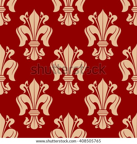 Bright red seamless fleur-de-lis background with floral pattern of victorian heraldic lilies. Luxury wallpaper, vintage interior accessories design usage - stock vector