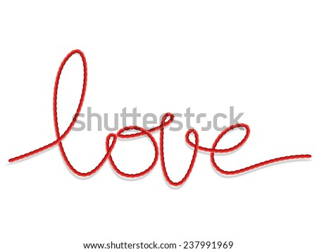 Bright red yarn in the shape of a word - love. EPS 10 vector file included - stock vector
