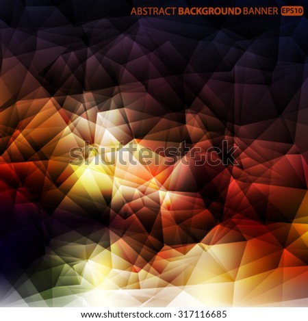 Bright red, yellow, green, brown polygon abstract background.Vector EPS 10 illustration. - stock vector
