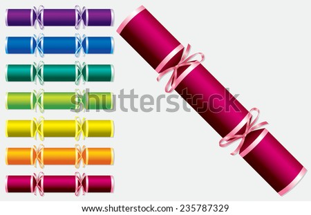 Bright retro Christmas crackers in vector format. - stock vector