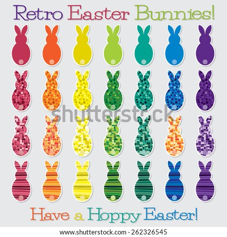 Bright retro Happy Easter Bunny set in vector format. - stock vector