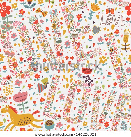 Bright romantic seamless pattern with Love words, flowers, hearts, and horses. Seamless pattern can be used for wallpapers, pattern fills, web page backgrounds, surface textures. - stock vector