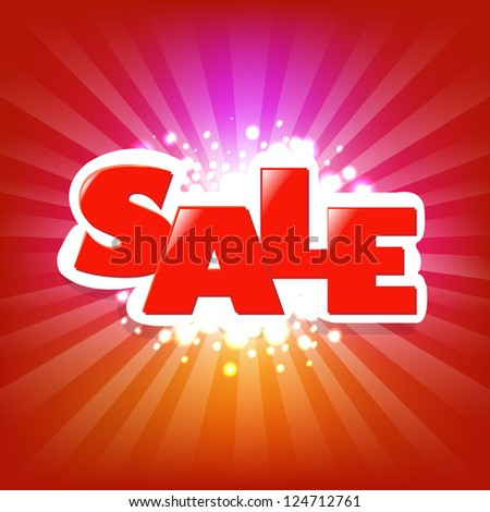 Bright Sale Poster With Blur With Gradient Mesh, Vector Illustration - stock vector