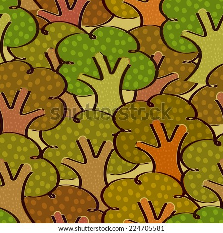 Bright seamless background with trees in a simple style. Vector illustration.  - stock vector