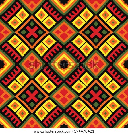 bright seamless ethnic pattern background in red, green, orange, yellow and black colors.  - stock vector