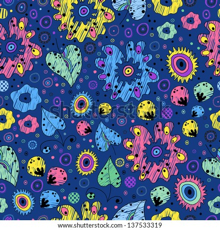 Bright seamless pattern on a blue background