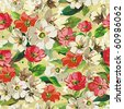 Bright Seamless pattern with beige and red flowers, vector illustration with butterflies. - stock photo