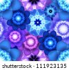 Bright seamless pattern with blue and purple flowers - stock photo