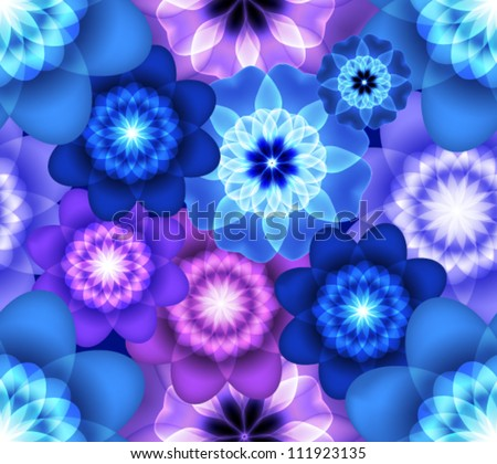 Bright seamless pattern with blue and purple flowers - stock vector