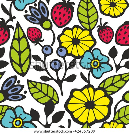 Bright seamless pattern with flowers and plants. Vector background. - stock vector
